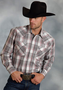 Amarillo Collection- Red Rock Amarillo Mens Long Sleeve Shirt 9765 Grey Stone Plaid