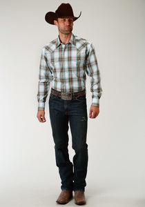Men's Amarillo Collection- Sage Trail Amarillo Mens Long Sleeve Shirt 1674 Sage Creek Plaid