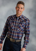 Amarillo Collection- Indigo Fire Amarillo Mens Long Sleeve Shirt 0047 Sapphire Plaid