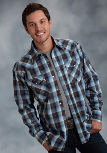 Amarillo Collection- Cold Mountain Amarillo Mens Long Sleeve Shirt 0055 Blended Plaid