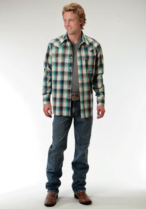 Men's Amarillo Collection- Vintage Turquoise Amarillo Mens Long Sleeve Shirt 0553 Sage Plaid