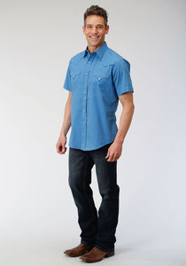 West Made Collection Westm Mens Short Sleeve 00106 Solid Poplin - Blue
