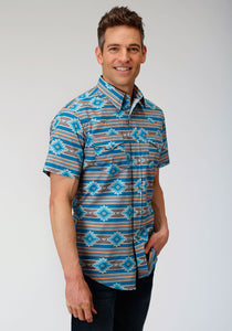 West Made Collection Westm Mens Short Sleeve 00082 Santa Fe Aztec