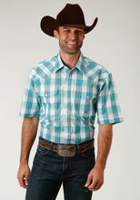 Men's Amarillo Collection- Sage Trail Amarillo Mens Short Sleeve Shirt 1672 Jade Plaid