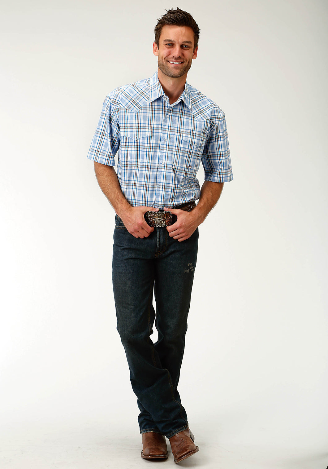 Men's Amarillo Collection- Blue Yonder Amarillo Mens Short Sleeve Shirt 1675 Blue Spring Plaid