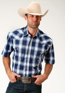 Men's Amarillo Collection- Route 66 Amarillo Mens Short Sleeve Shirt 1677 Navy Plaid