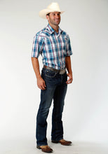 Men's Amarillo Collection- True Blue Amarillo Mens Short Sleeve 3337 Loyal Plaid