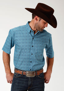 Men's Amarillo Collection- Red Mesa Amarillo Mens Short Sleeve Shirt 1517 Ornate Tile Print