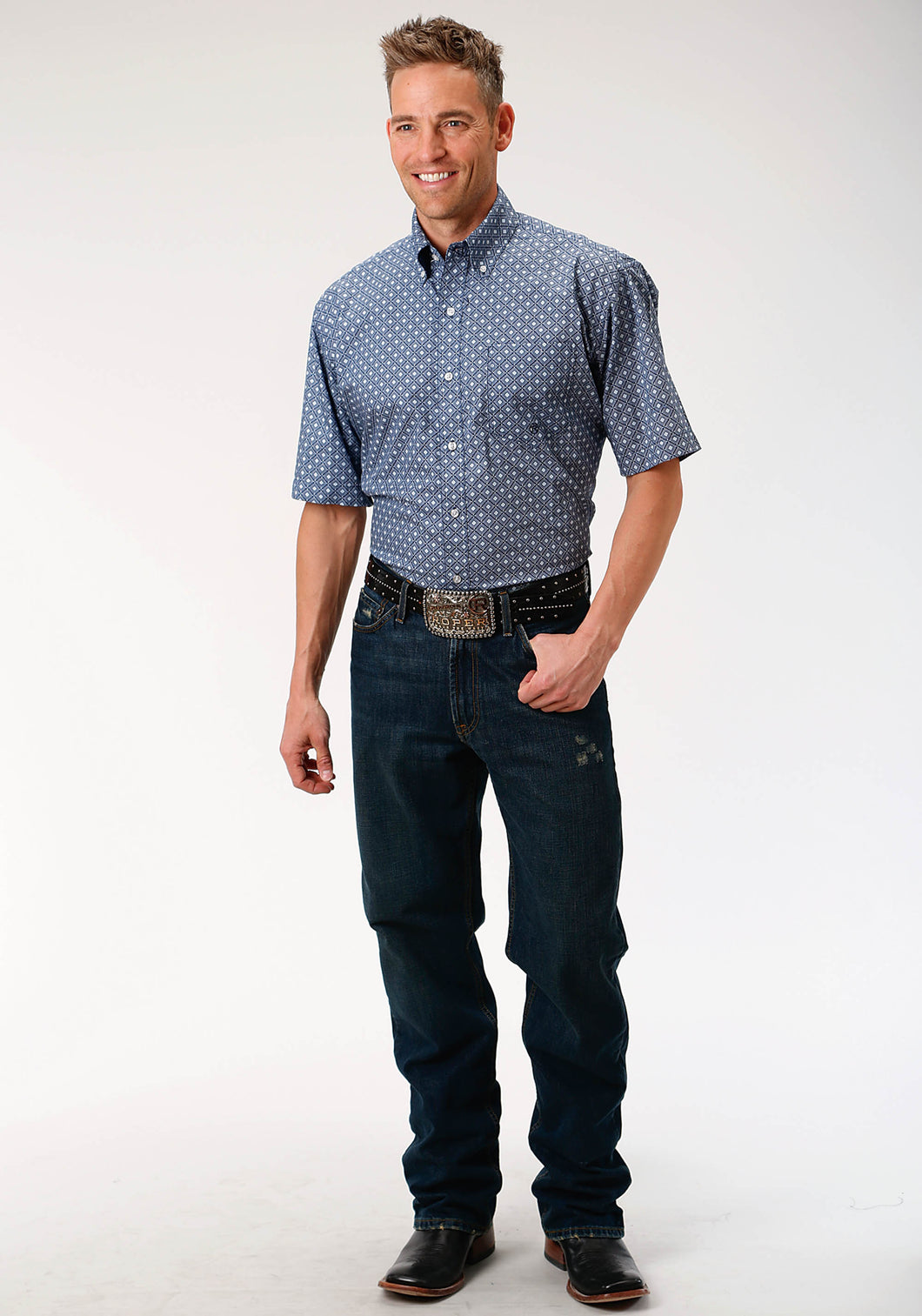 Men's Amarillo Collection- Indigo Trail Amarillo Mens Short Sleeve Shirt 1519 King Of Diamonds