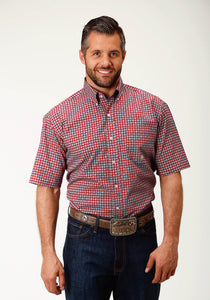 Men's Amarillo Collection- Red Marble Amarillo Mens Short Sleeve 2440 Red Geo