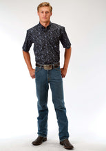 Men's Amarillo Collection- Black Jack Amarillo Mens Short Sleeve Shirt 0973 Stipple Paisley