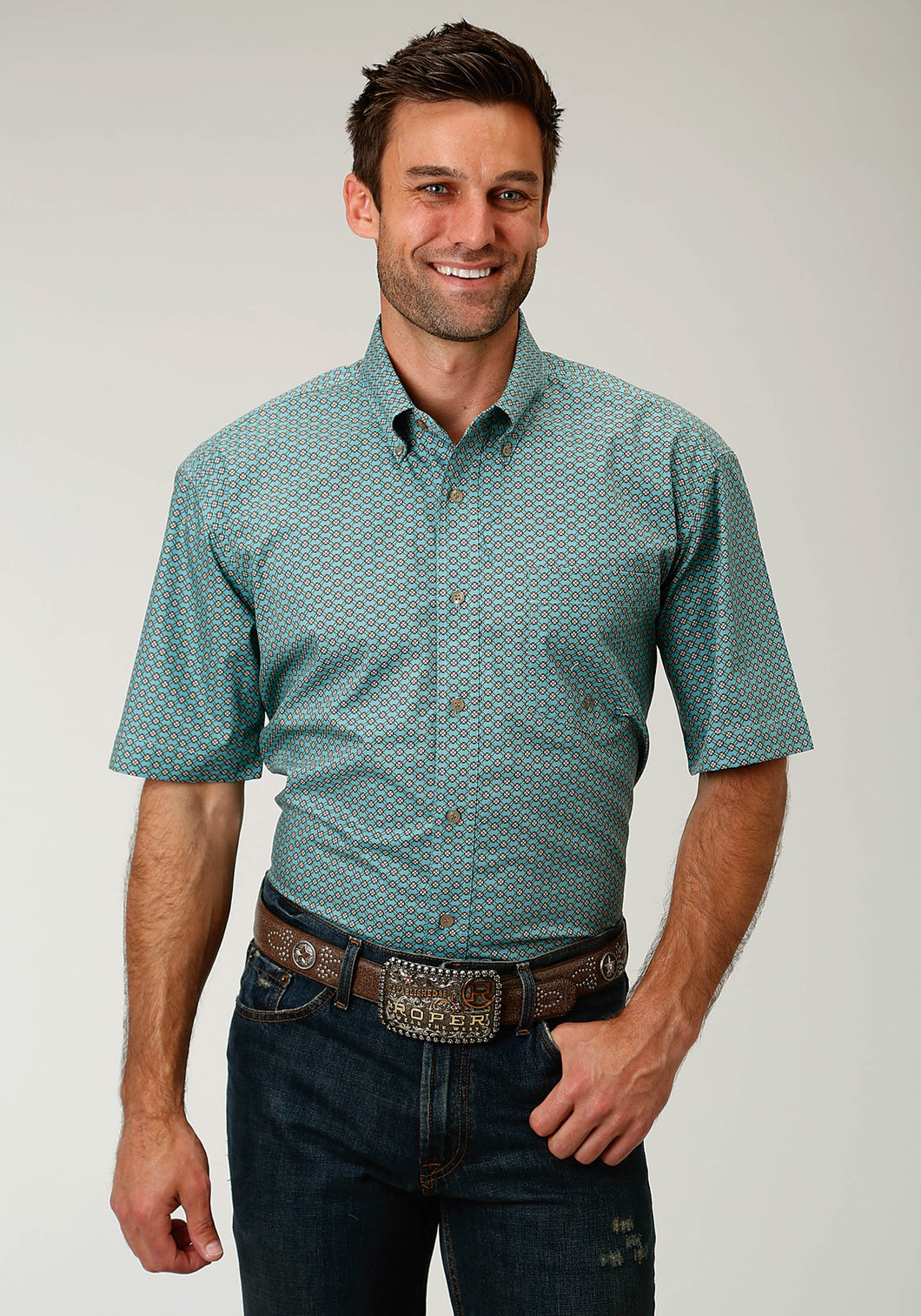 Men's Amarillo Collection- Sage Trail Amarillo Mens Short Sleeve Shirt 1685 Four Leaf Geo
