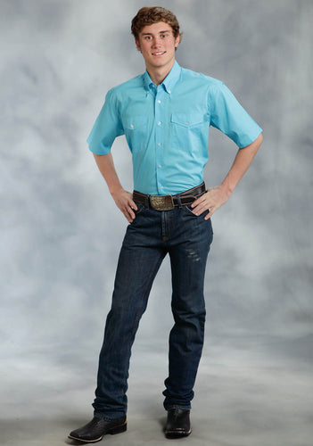 Amarillo Collection- Willow Winds Amarillo Mens Short Sleeve Shirt 0282 Solid Poplin - Turquoise