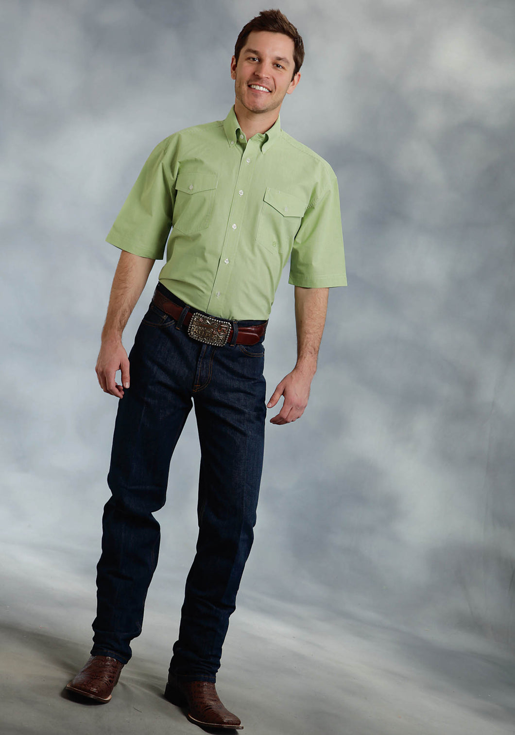 Amarillo Collection- Willow Winds Amarillo Mens Short Sleeve Shirt 0283 Mini Check - Lime Green