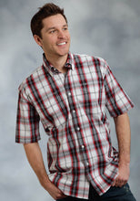 Amarillo Collection- Badland Blues Amarillo Mens Short Sleeve Shirt 0167 Portofino Plaid