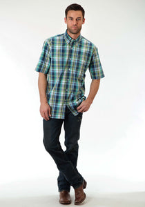 Men's Amarillo Collection- Prairie Wind Amarillo Mens Short Sleeve Shirt 0830 Water Check Plaid