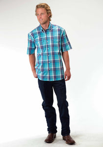 Men's Amarillo Collection- Aquamarine Amarillo Mens Short Sleeve Shirt 0398 Blue River Plaid
