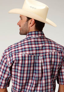Men's Amarillo Collection- True Blue Amarillo Mens Short Sleeve 3304 New England Plaid
