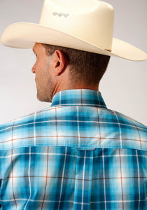 Men's Amarillo Collection - Desert Sky Amarillo Mens Short Sleeve 00163 Blue Mesa Plaid