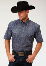 Men's Amarillo Collection- Agate Stone Amarillo Mens Short Sleeve Shirt 1520 Agate Paisley