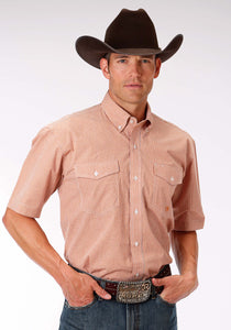 Men's Amarillo Collection- Sundown Amarillo Mens Short Sleeve Shirt 0969 Mini Checks - Orange