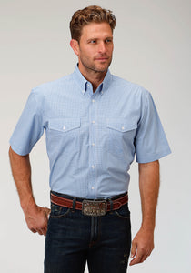 Men's Amarillo Collection- Indigo Trail Amarillo Mens Short Sleeve Shirt 1529 Mini Checks - Blue