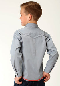 West Made Collection Westm Boys Long Sleeve 2613 Solid Grey Poplin
