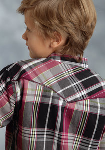 Performance Collection- Fall Iii Westm Boys Long Sleeve Shirt 0037 Bordeaux Dobby Plaid