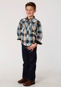West Made Collection Westm Boys Long Sleeve 0718 Dove Grey Plaid