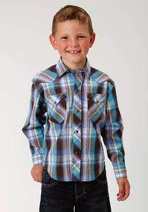West Made Collection Westm Boys Long Sleeve Shirt 1534 Mallard Plaid