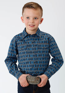 West Made Collection Westm Boys Long Sleeve 0810 Hex Aztec Print