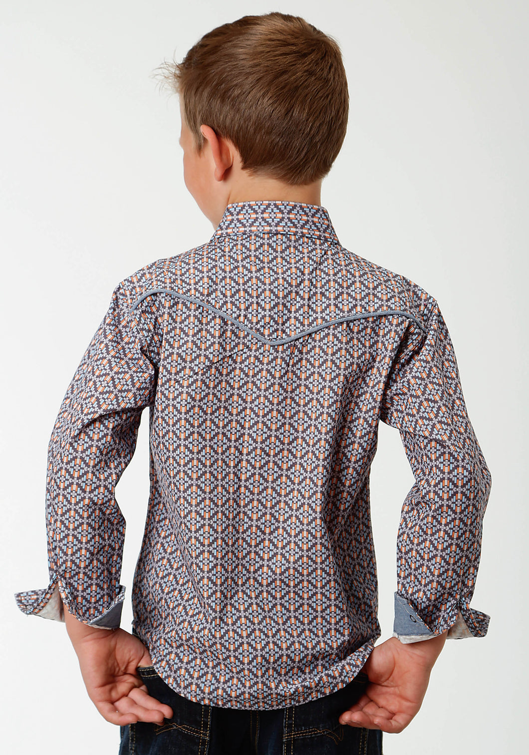 West Made Collection Westm Boys Long Sleeve Shirt 1538 Moonlight Geo