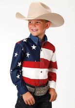 Patriotic Collection Americana Boys Long Sleeve Shirt Stars Stripes Pieced American Flag