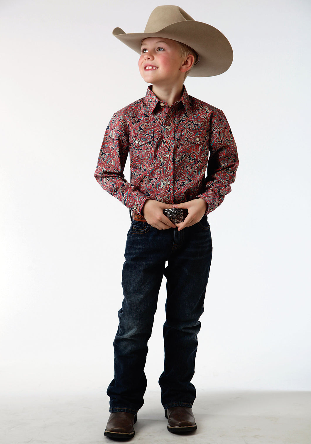 Boys Amarillo Collection- Red Coral Amarillo Boys Long Sleeve Shirt 0560 Layered Paisley