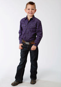 Boys Amarillo Collection- Winter Plum Amarillo Boys Long Sleeve Shirt 1271 Tapestry Print