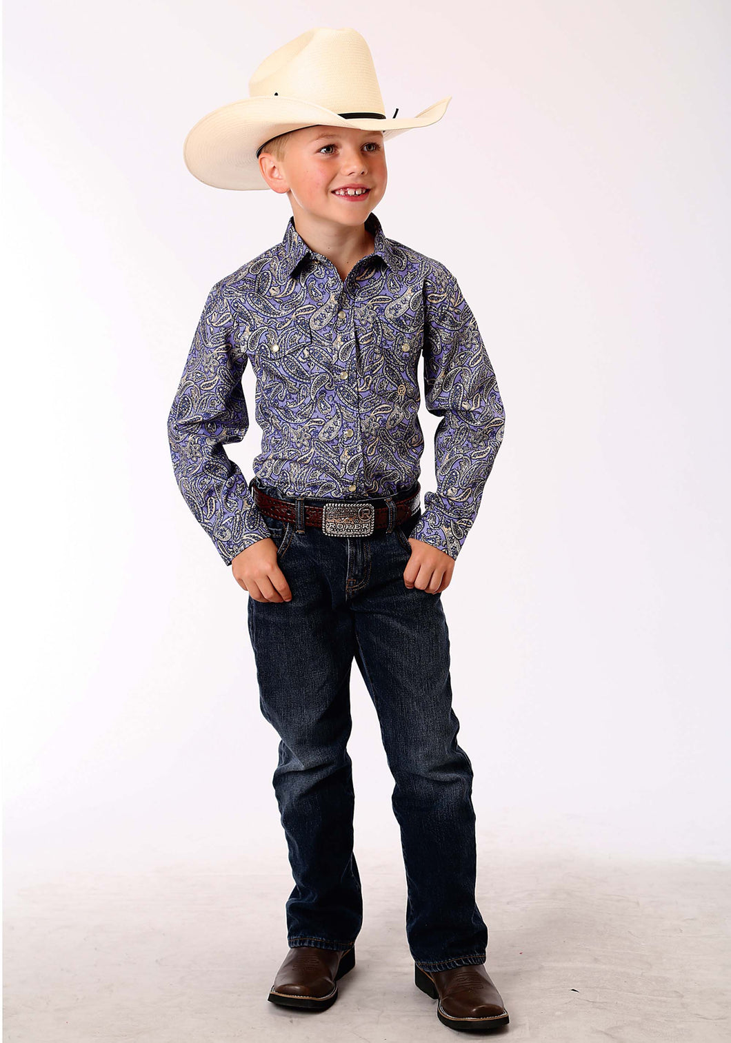 Boys Amarillo Collection- Bridle Path Amarillo Boys Long Sleeve Shirt 0840 Antique Paisley Print