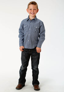 Boys Amarillo Collection- Indigo Trail Amarillo Boys Long Sleeve Shirt 1519 King Of Diamonds