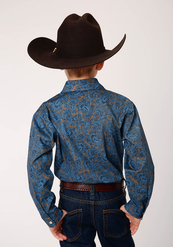 Boy's Amarillo Collection- Cedar Brook Amarillo Boys Long Sleeve 00267 Blue Paisley