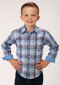 Boys Amarillo Collection- Dusk Amarillo Boys Long Sleeve 00019 Cool Breeze Plaid