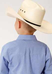 Boys Amarillo Collection- Dusk Amarillo Boys Long Sleeve 00069 Mini Check - Periwinkle