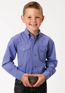 Boys Amarillo Collection- Agate Stone Amarillo Boys Long Sleeve Shirt 1528 Solid Poplin - Purple