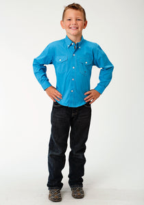 Boys Amarillo Collection- Blue Yonder Amarillo Boys Long Sleeve Shirt 1691 Solid Poplin - Turquoise