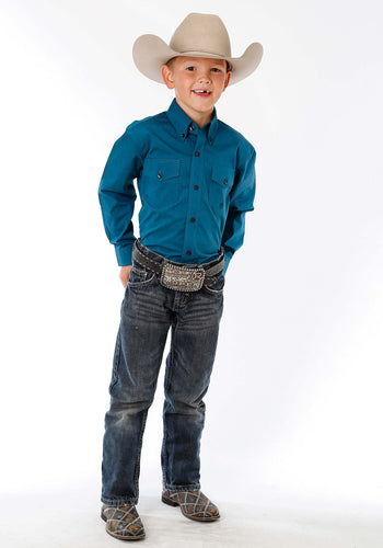 Boy's Amarillo Collection- Blue Jay Amarillo Boys Long Sleeve Shirt 1257 Solid Black Fill - Teal