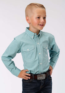 Boys Amarillo Collection- Lucky Clover Amarillo Boys Long Sleeve Shirt 0969 Mini Checks - Jade