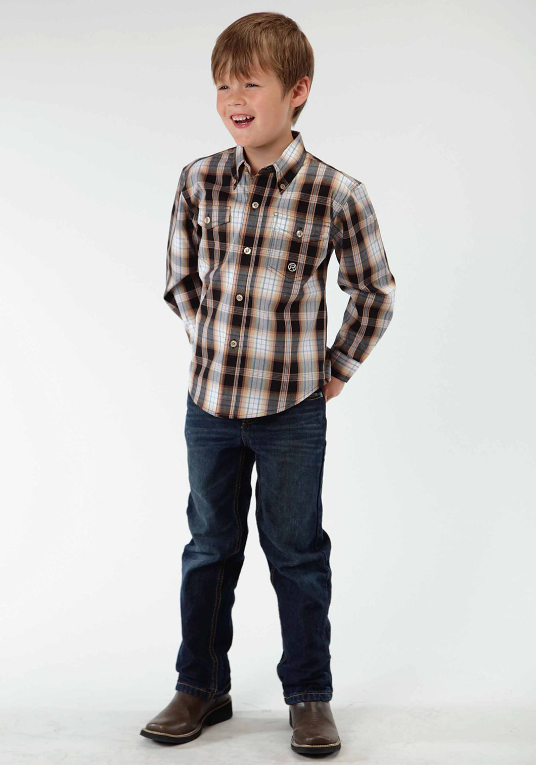 Boys Amarillo Collection- Desert Shadow Amarillo Boys Long Sleeve Shirt 0402 Driftwood Plaid