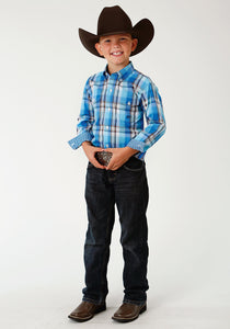Boys Amarillo Collection- Blue Yonder Amarillo Boys Long Sleeve Shirt 1676 Blue Panes Plaid
