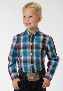 Boys Amarillo Collection- Teal Glass Amarillo Boys Long Sleeve Shirt 0548 Blueberry Ombre Plaid
