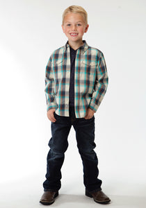 Boys Amarillo Collection- Vintage Turquoise Amarillo Boys Long Sleeve Shirt 0553 Sage Plaid