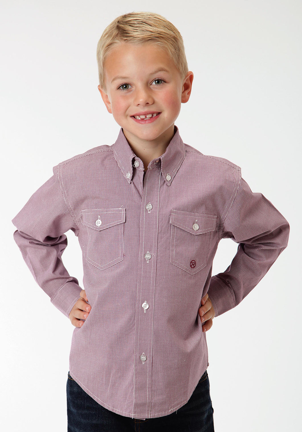 Boys Amarillo Collection- Teal Glass Amarillo Boys Long Sleeve Shirt 0707 Mini Check - Wine