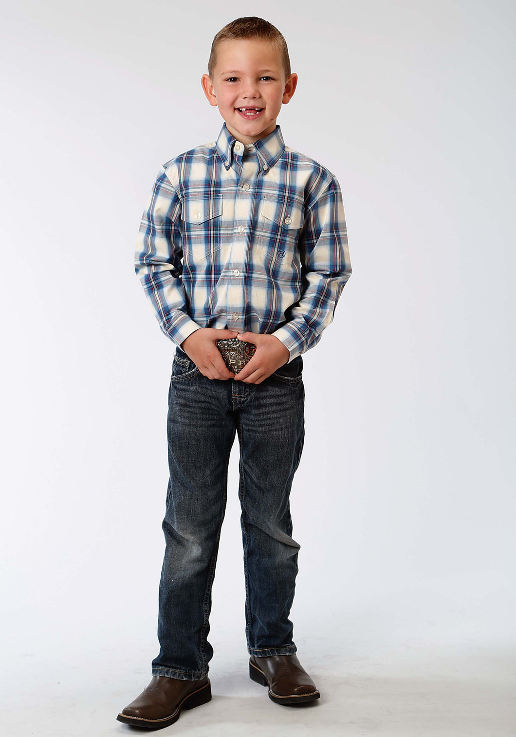Boys Amarillo Collection- Old Glory Amarillo Boys Long Sleeve Shirt 1180 Winchester Plaid